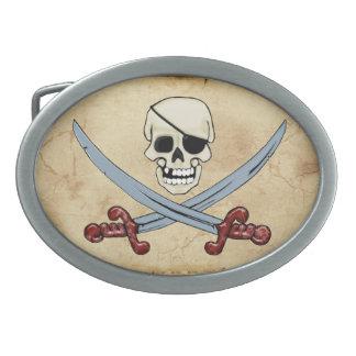 Creepy Pirate Skull & Crossed Cutlasses Belt Buckle