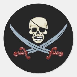 Creepy Pirate Skull & Crossed Cutlasses Classic Round Sticker