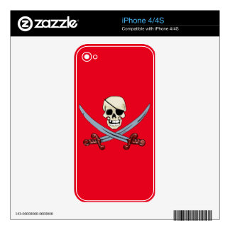 Creepy Pirate Skull & Crossed Cutlasses Decal For The iPhone 4