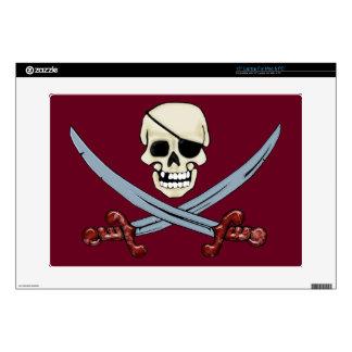 "Creepy Pirate Skull & Crossed Cutlasses Decals For 15"" Laptops"