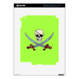 Creepy Pirate Skull & Crossed Cutlasses Decals For iPad 3