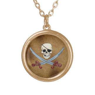 Creepy Pirate Skull & Crossed Cutlasses Gold Plated Necklace