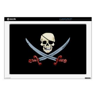 Creepy Pirate Skull & Crossed Cutlasses Laptop Decal