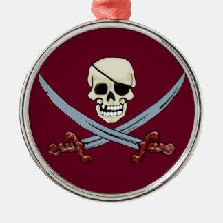 Creepy Pirate Skull & Crossed Cutlasses Metal Ornament