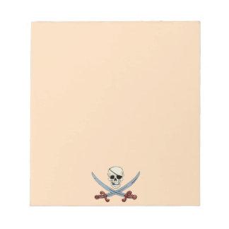 Creepy Pirate Skull & Crossed Cutlasses Memo Note Pads