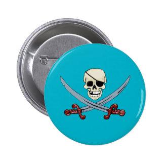 Creepy Pirate Skull & Crossed Cutlasses Pinback Button
