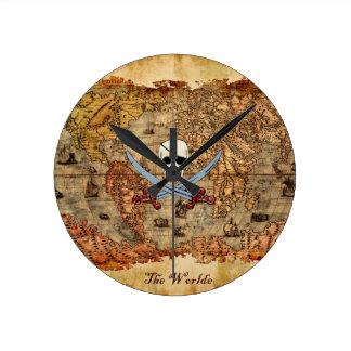 Creepy Pirate Skull & Crossed Cutlasses Round Clock