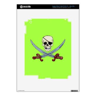 Creepy Pirate Skull & Crossed Cutlasses Skins For iPad 3