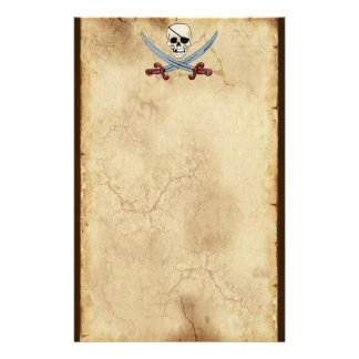 Creepy Pirate Skull & Crossed Cutlasses Stationery