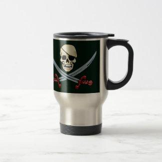 Creepy Pirate Skull & Crossed Cutlasses Travel Mug