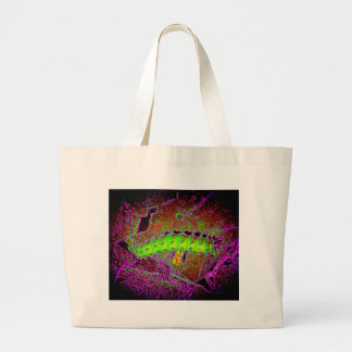 Creepy psychedelic caterpillar vibrant colors tote bags