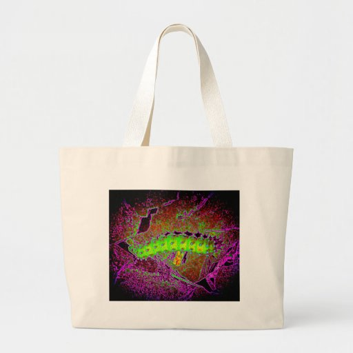 Creepy psychedelic caterpillar vibrant colors jumbo tote bag
