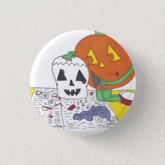 Creepy Pumpkin Carving Pinback Button