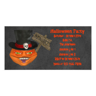 Creepy Pumpkin Face Halloween Party Invite Picture Card