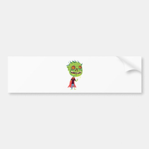 Creepy Red and Yellow Eyed Drooling Green Monster Bumper Stickers