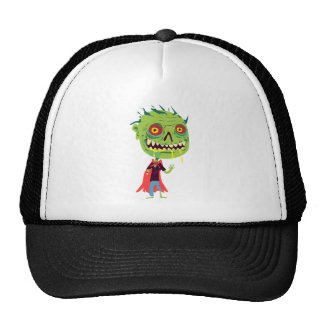 Creepy Red and Yellow Eyed Drooling Green Monster Hats