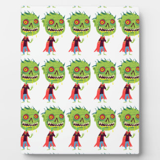 Creepy Red and Yellow Eyed Drooling Green Monster Display Plaques