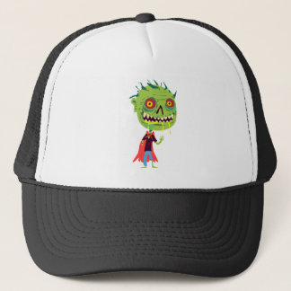 Creepy Red and Yellow Eyed Drooling Green Monster Trucker Hat