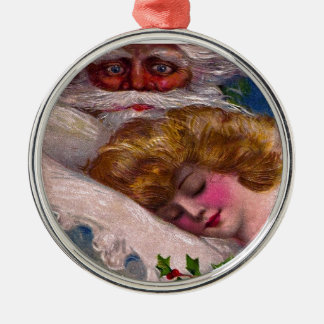 Creepy Santa Claus Pretty Woman Christmas Metal Ornament