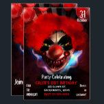 "Creepy Scary Killer Clown Halloween Birthday Party Invitation<br><div class=""desc"">Creepy Scary Killer Clown Halloween Birthday Party Invitations</div>"