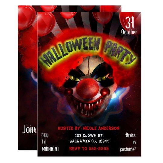 creepy scary killer clown halloween party invitation zazzle com