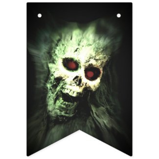 Creepy Screaming Skull Halloween Bunting Flags