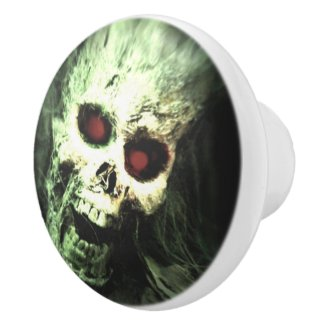 Creepy Screaming Skull Halloween Ceramic Knob
