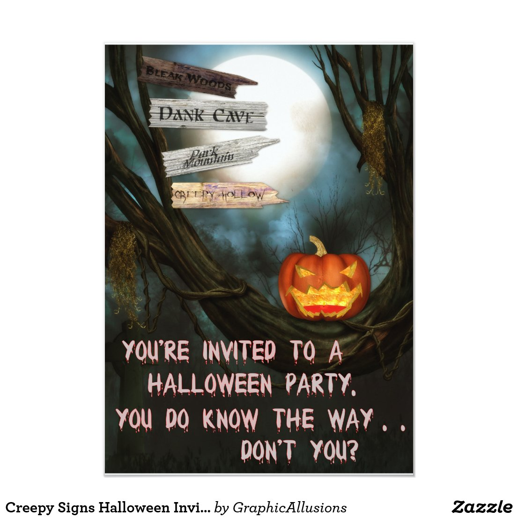 Creepy Signs Halloween Invitation