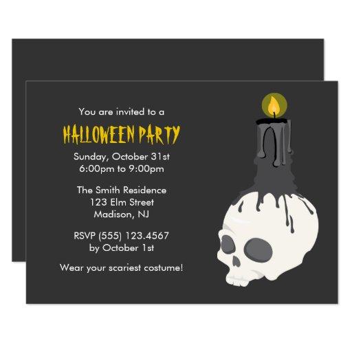 Creepy Skull Candle Halloween Party Invitations