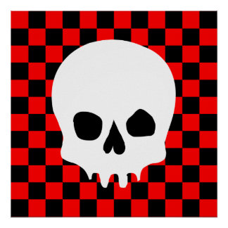 Creepy Skull & Checkerboard (Black & Red) Poster
