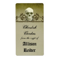 Creepy Skull Halloween Kitchen label