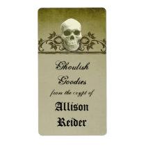 Creepy Skull Halloween Kitchen label Shipping Label