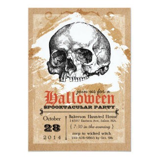 Creepy Skull Halloween Party Invitations
