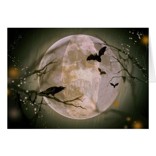 Creepy Skull in Full Moon with Flying Birds & Tree Greeting Card