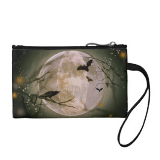 Creepy Skull in Full Moon with Flying Birds & Tree Coin Purse