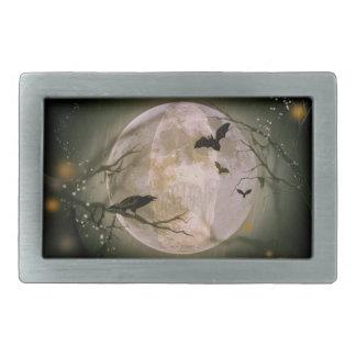 Creepy Skull in Full Moon with Flying Birds & Tree Rectangular Belt Buckle