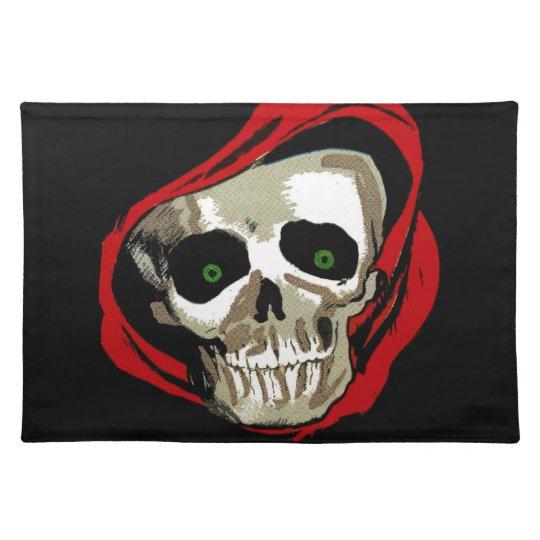 Creepy Skull Skeleton Laser Eyes Fabric Print Cloth Placemat