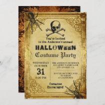 Creepy Skull Spiders Gothic Halloween Party Invitation