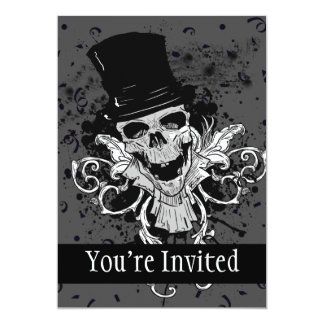 Creepy Skull With Top Hat 5x7 Paper Invitation Card