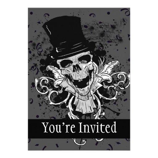 Creepy Skull With Top Hat Invites