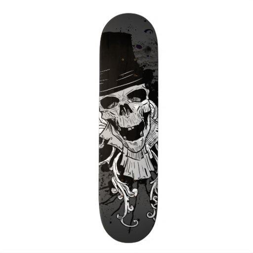 Creepy Skull With Top Hat Skateboard