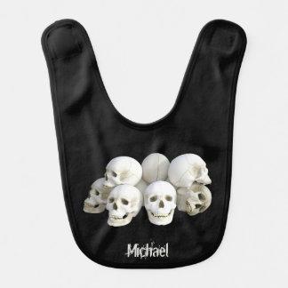 Creepy skulls pile name baby bib