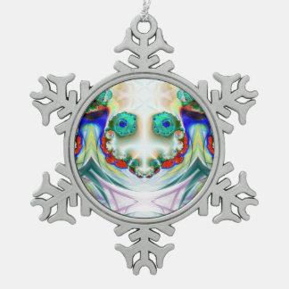 Creepy Snowman Smiling  Snowflake Snowflake Pewter Christmas Ornament