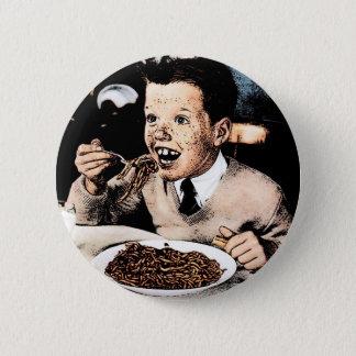 Creepy Spaghetti Kid Pinback Button