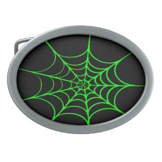Creepy Spider Web (Black & Green) Oval Belt Buckle