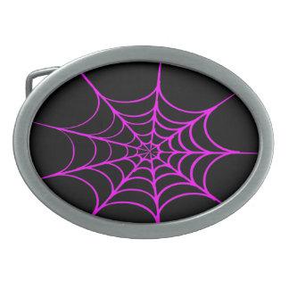 Creepy Spider Web (Black & Hot Pink) Oval Belt Buckle