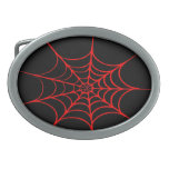 Creepy Spider Web (Black & Red) Oval Belt Buckle