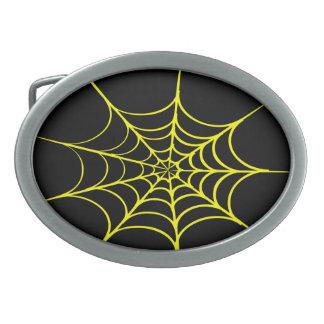 Creepy Spider Web (Black & Yellow) Oval Belt Buckles