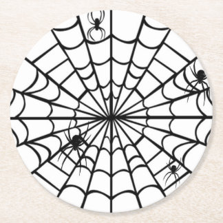 Creepy Spider Web Round Paper Coaster