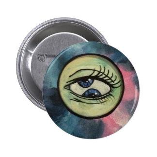 Creepy strange 2 pupil eye, colourful button